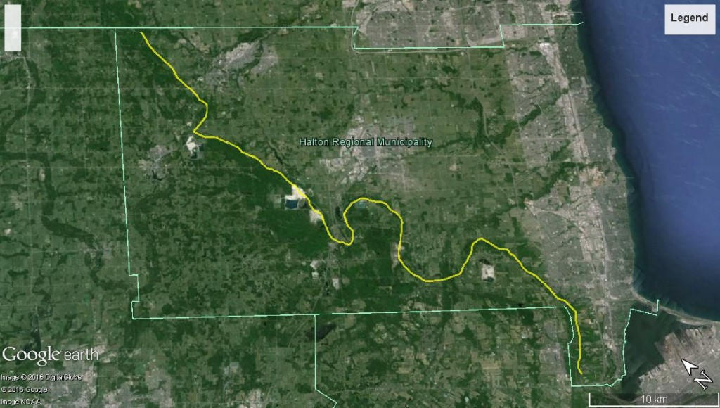 Halton Region divided by the Escarpment into uplands to the west - left) and lowlands